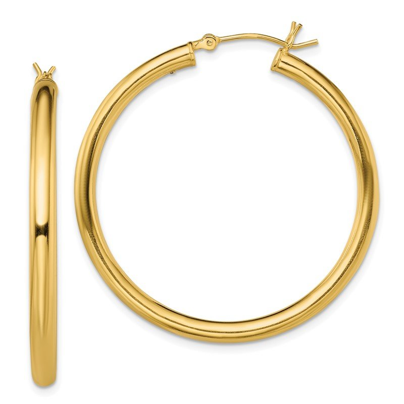 Quality Gold Sterling Silver Gold-Tone Polished 3x40mm Hoop Earrings