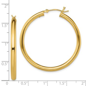 Sterling Silver Gold-Tone Polished 3x40mm Hoop Earrings
