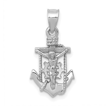 14k White Gold Polished Mariner Crucifix Pendant
