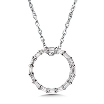 10K Prong-Set Baguette Diamond Circle Pendant