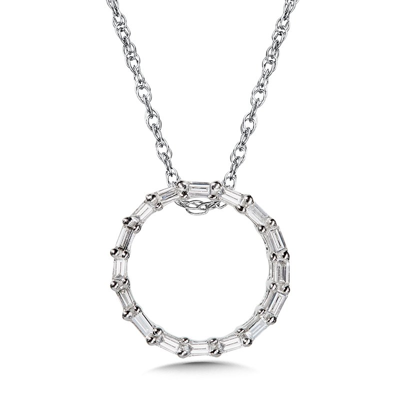 SDC Creations 10K Prong-Set Baguette Diamond Circle Pendant