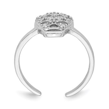 Sterling Silver Rhodium-plated CZ Skull Toe Ring