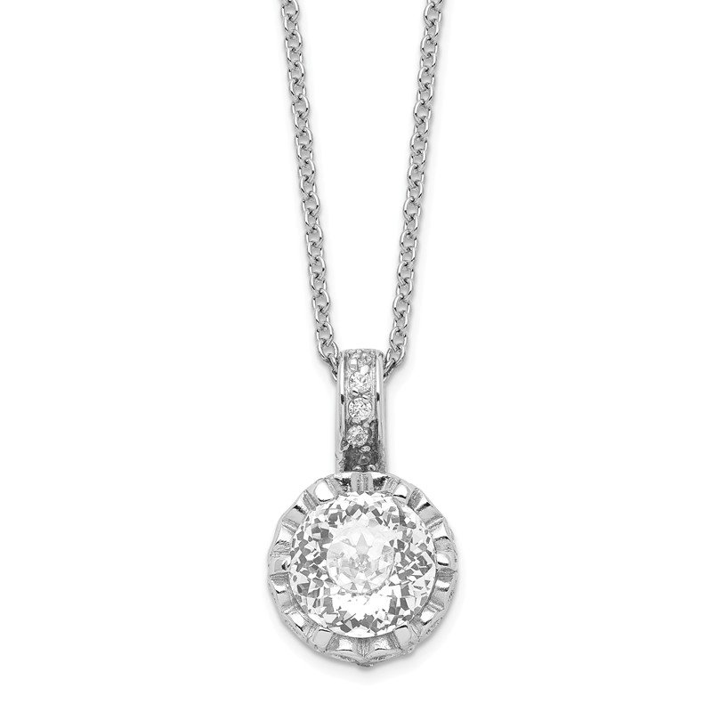 Cheryl M Cheryl M Sterling Silver Rhodium Plated 100-facet CZ 18in Necklace