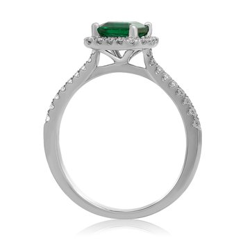 Prong Set Emerald & Diamond Ring