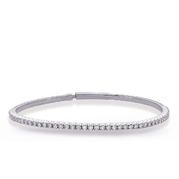 White Gold Flexable Bangle Bracelet
