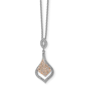 Sterling Silver Brilliant Embers Rose Gold-plated CZ Necklace