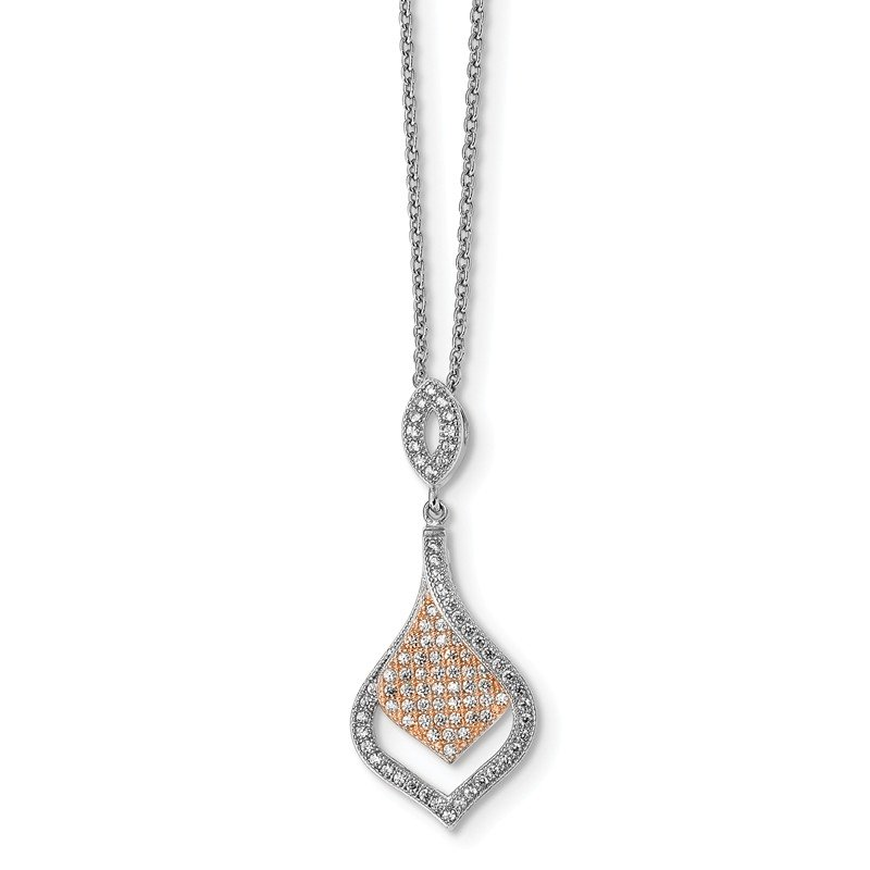 Lester Martin Online Collection Sterling Silver Rose Gold-plated CZ Brilliant Embers Necklace