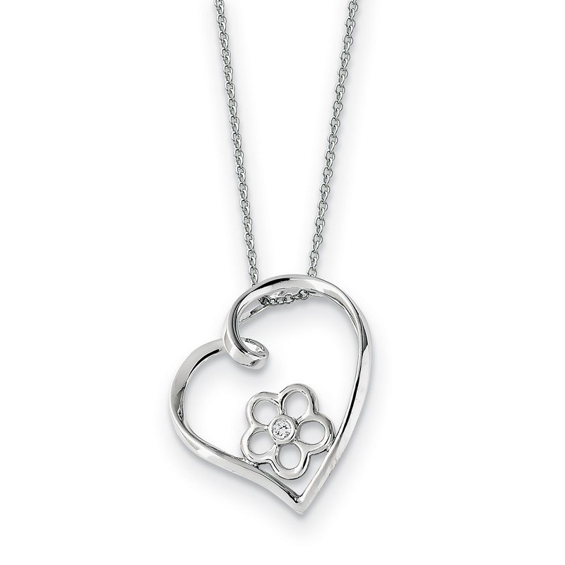 Quality Gold Sterling Silver CZ My Special Niece 18in Flower in Heart Necklace