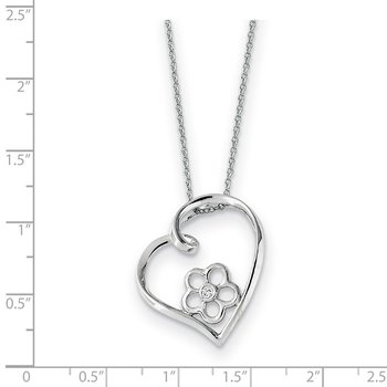Sterling Silver CZ My Special Niece 18in Flower in Heart Necklace