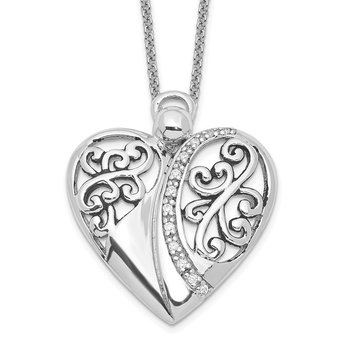 Sterling Silver CZ Antiqued 18in Angel of Love Necklace