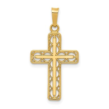 14k Polished Filigree Cross Pendant