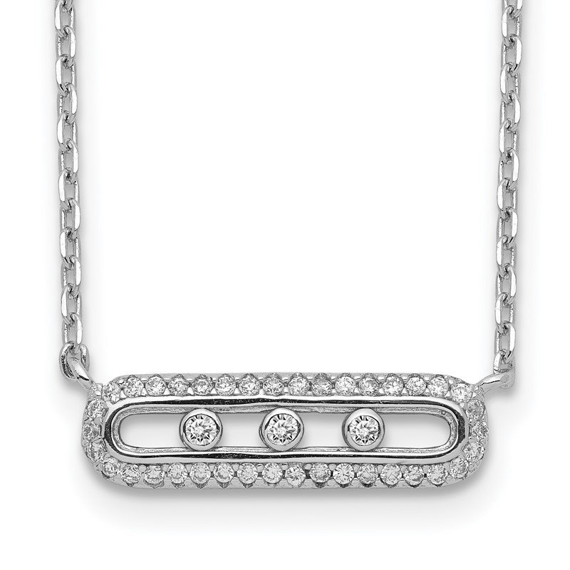 Quality Gold Sterling Silver Rhodium-plated CZ Bar w/ 2in ext. Necklace