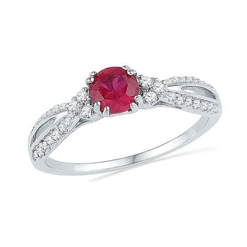10kt White Gold Womens Round Lab-Created Ruby Solitaire Diamond Split-shank Ring 7/8 Cttw