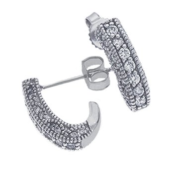 White Gold J Earrings