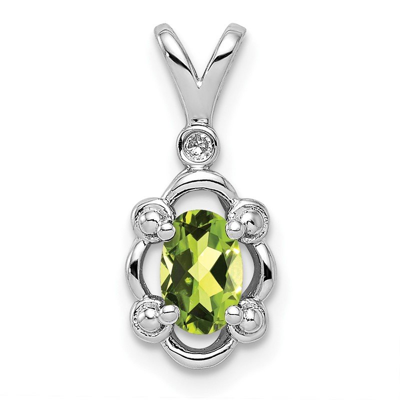 Quality Gold Sterling Silver Rhodium-plated Peridot & Diam. Pendant
