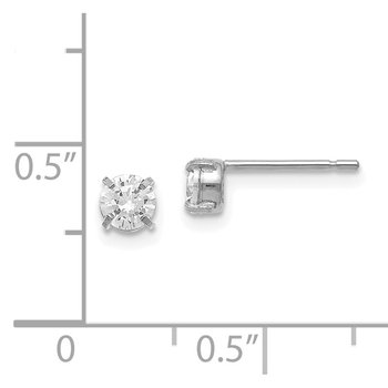 Leslie's 14K White Gold CZ Stud 4.0mm Earrings