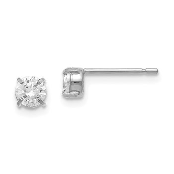 Leslies 14k White Gold CZ Stud 4.0mm Earrings