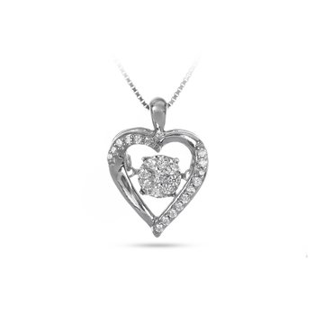 10K WG Cluster Center Heart Shape Dancing Diamond Pendant