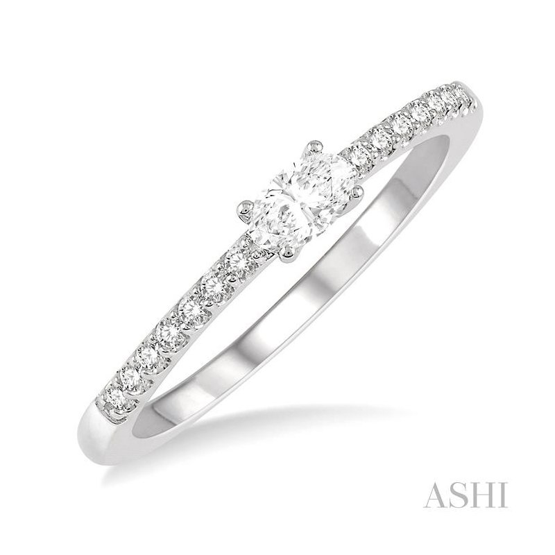 ASHI oval shape diamond east west stack ring