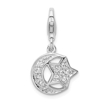 Sterling Silver RH Polished w/ CZ Moon and Star Lobster Clasp Charm