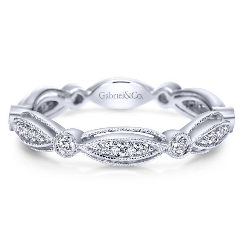 Gabriel Fashion 14K White Gold Scalloped Stackable Diamond Ring
