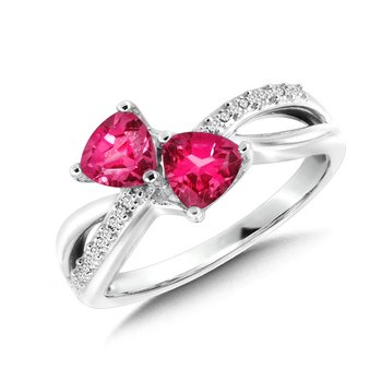 Trillion-Cut  Created Pink Sapphire and Diamond Criss-Cross Ring
