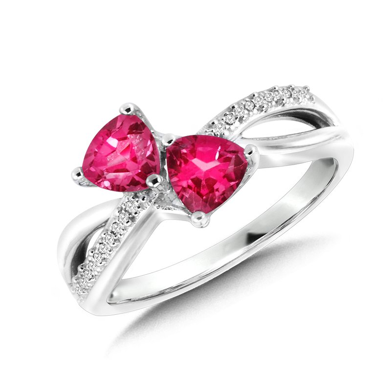 SDC Creations Trillion-Cut  Created Pink Sapphire and Diamond Criss-Cross Ring