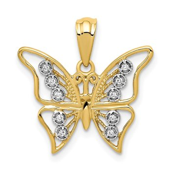 14k and Rhodium Diamond Butterfly Pendant