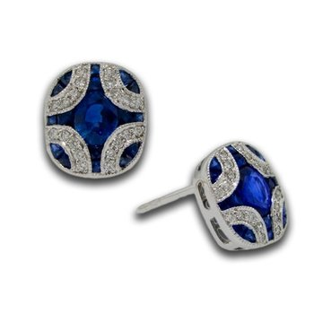 Sapphire & Diamond Deco Earrings