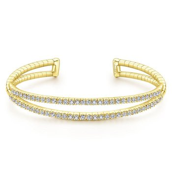 14K Yellow Gold Split Diamond Cuff