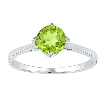 Sterling Silver Womens Round Lab-Created Peridot Solitaire Ring 7/8 Cttw
