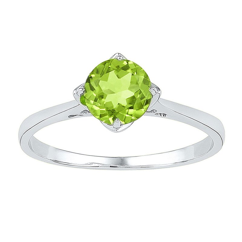 Kingdom Treasures Sterling Silver Womens Round Lab-Created Peridot Solitaire Ring 7/8 Cttw