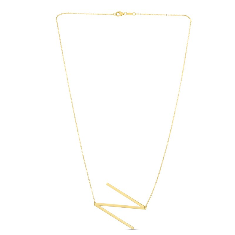 Royal Chain 14K Gold Large Initial N Necklace