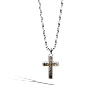 Chain Jawan Cross Necklace in Silver and 18K Gold