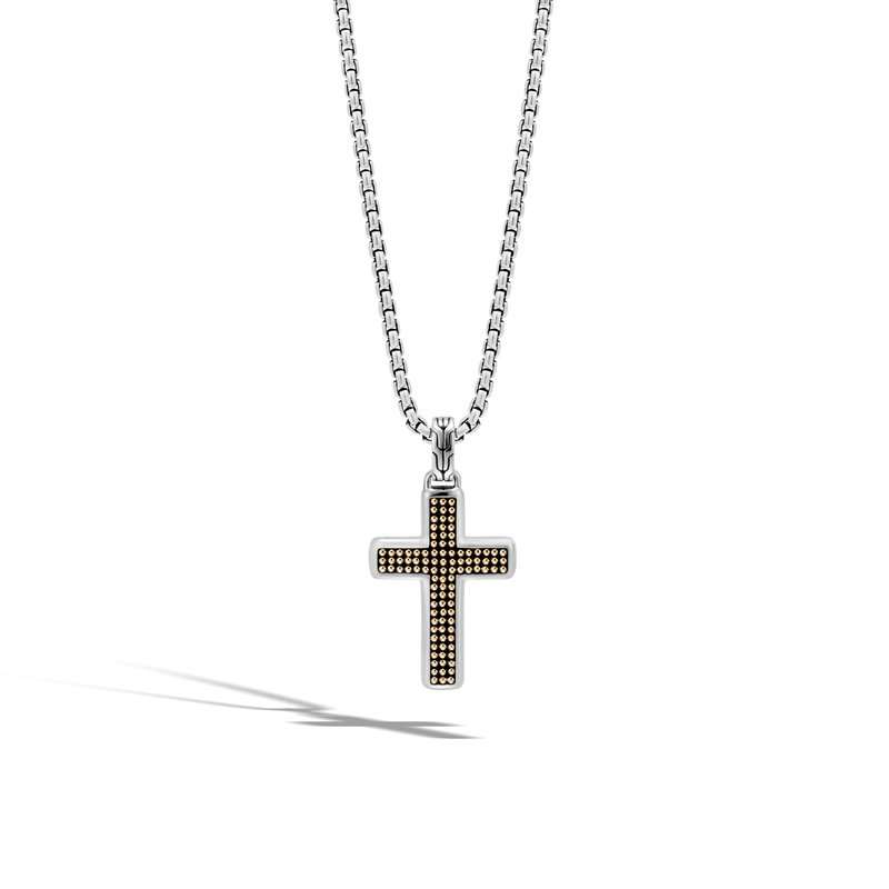 John Hardy Chain Jawan Cross Necklace in Silver and 18K Gold