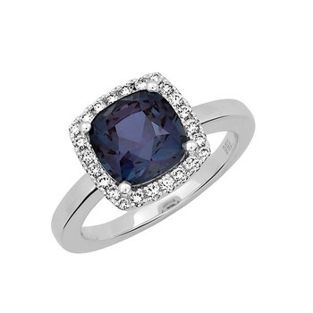 Chatham Created Alexandrite+Diamond Ring