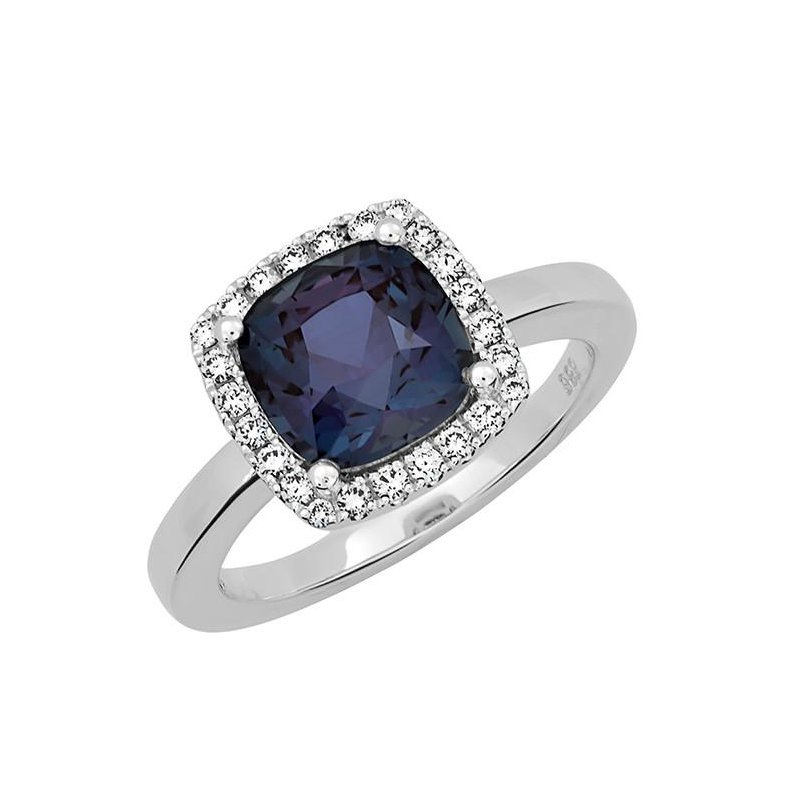 Chatham Chatham Created Alexandrite+Diamond Ring