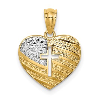 14K w/Rhodium US Flag With Cross Heart Pendant