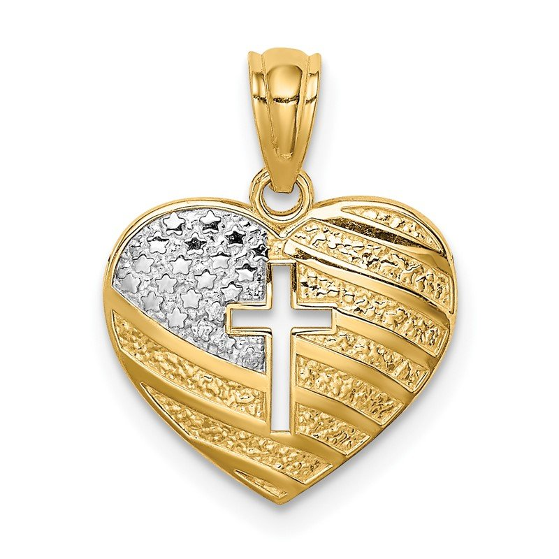 Quality Gold 14K w/Rhodium US Flag With Cross Heart Pendant