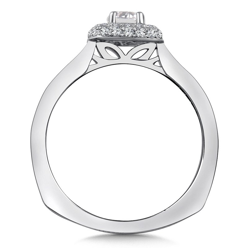 Diamond Halo Engagement Ring Mounting in 14K White Gold (.29 ct. tw.)