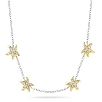 "14K Delicate Diamond Starfish Necklace, each starfish 1/4"" diameter"