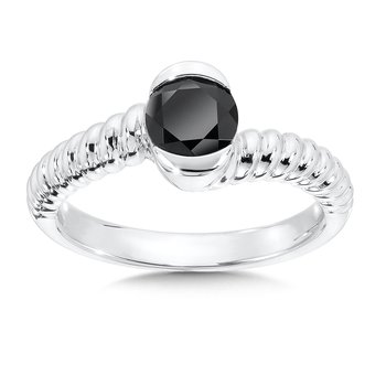 Sterling Silver Onyx Colore Of Life Stack Ring