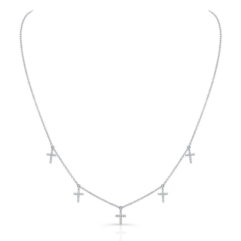 White Gold Piety Dangling Cross Necklace