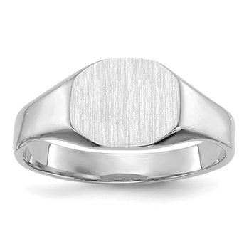 14k White Gold Signet Ring 8.5mmx6.5mm Solid Back