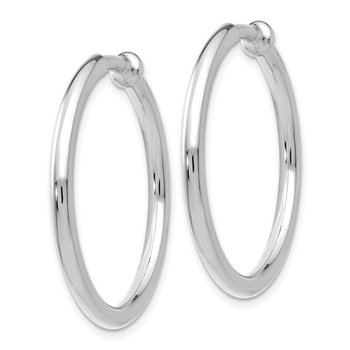 14k White Gold Non-pierced Earring Hoops Earrings