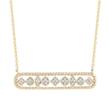14K Oval Diamond Bar Pendant. 9 Diamonds .012CT