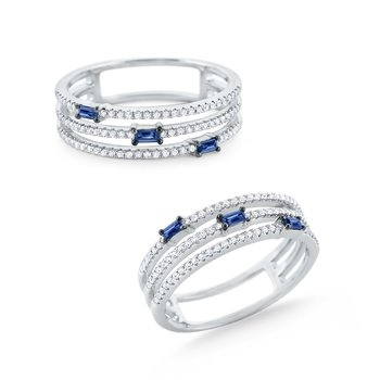 Triple Band Sapphire & Diamond Mosaic Ring Set in 14 Kt. Gold