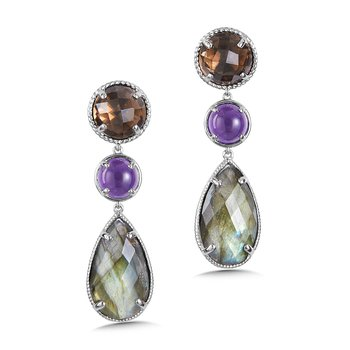 Sterling Silver Smoky Quartz, Amethyst and Labradorite Drop Earrings