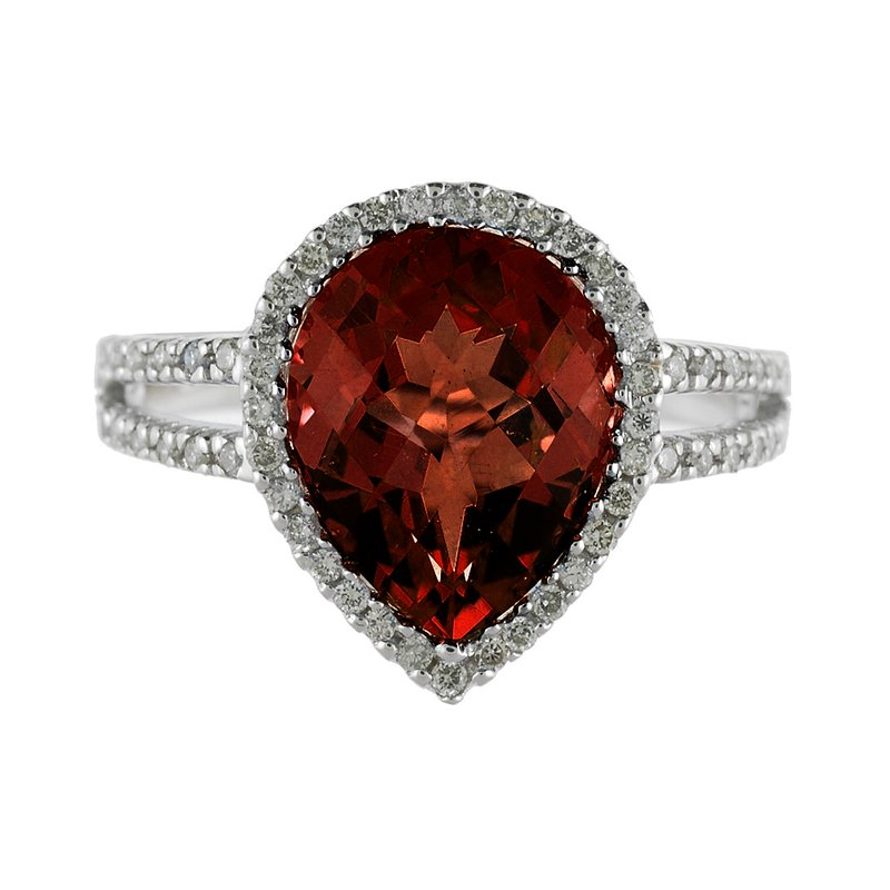 Color Merchants 14k White Gold Pear Cushion Garnet And Diamond Ring