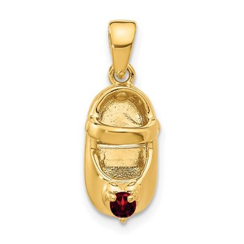 14k 3-D January Engraveable Red Synthetic Stone Baby Shoe Charm